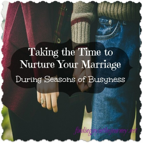 Nurturing Your Marriage During Seasons of Busyness Seasons of busyness come and go, but your spouse will always be there. Nurturing your marriage is crucial, These tips can help.