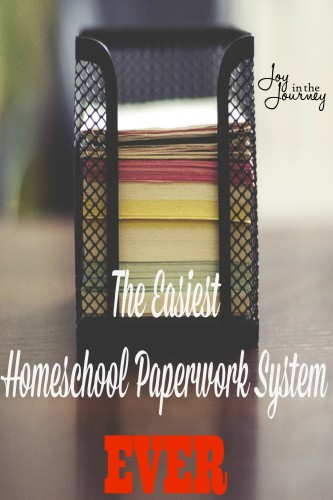 The Easiest Homeschool Paperwork System EVER!! As a homeschool mom I bet you sometimes feel OVERWHELMED at the thought of homeschool paperwork. I have found the easiest homeschool paperwork system ever.