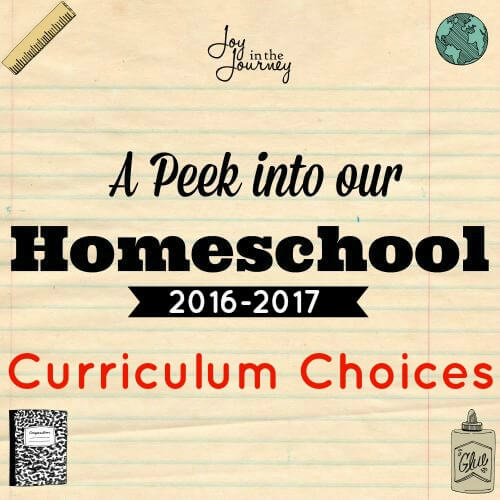 Our homeschool curriculum choices for 2016-2017. Curriculum for 6th, 4th and Kindergarten