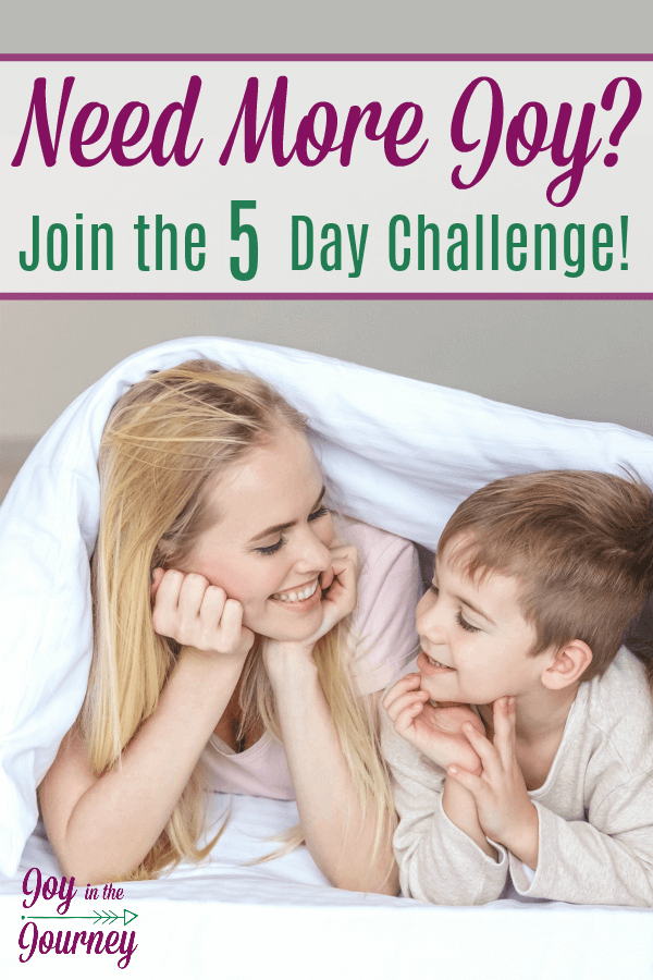 Do you struggle with joy in your homeschool? Do you want more joyful days, happy kids, and a laughing momma? Then join me on the choose joy challenge. A 5 day email series designed to help you choose joy!